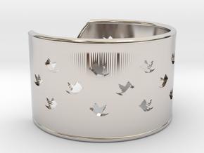 Bird Bracelet L Ø68 Mm/2.677 inch in Rhodium Plated Brass