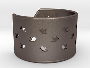 Bird Bracelet L Ø68 Mm/2.677 inch in Polished Bronzed Silver Steel