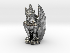 Gargoyle Statue v2 in Fine Detail Polished Silver
