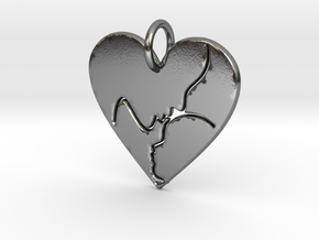 Mother and Child Pendant (solid) in Polished Silver