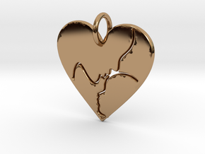 Mother and Child Pendant (solid) in Polished Brass