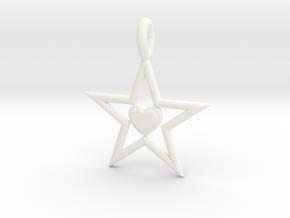 Pendant Of Star in White Processed Versatile Plastic