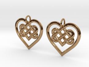 Celtic Heart earrings in Polished Brass