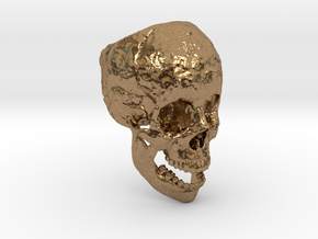 Human Skull Ring Open Jaw (size 8.5 - 9) in Natural Brass