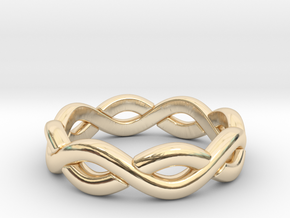 Zig Zag Double Ring. US Size 6 in 14k Gold Plated Brass