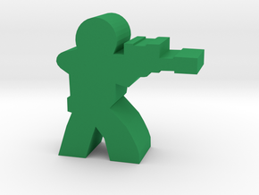 Soldier Meeple, with Sniper Rifle in Green Processed Versatile Plastic