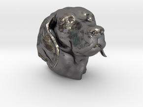 Weimaraner head hollow in Polished Nickel Steel