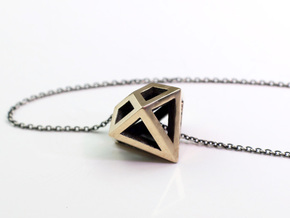 Diamond Pendant in Polished Bronze