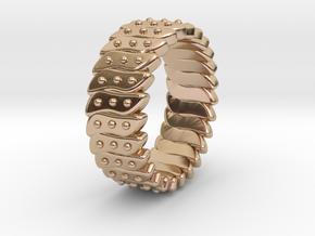 Ø0.699 Inch Fractal Ring Model C Ø17.75 Mm in 14k Rose Gold Plated Brass