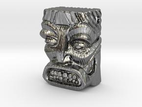 "Tiki Pendant ""Bob"" in Fine Detail Polished Silver"