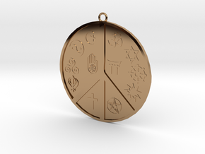 Religious Peace Pendant in Polished Brass