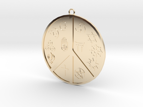 Religious Peace Pendant in 14k Gold Plated Brass