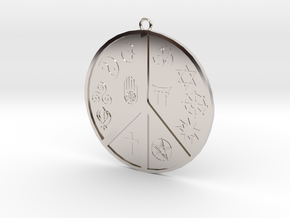 Religious Peace Pendant in Rhodium Plated Brass