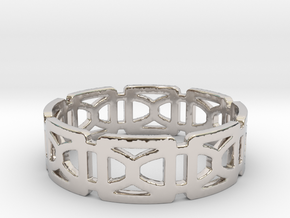 Geometric Ring Design Ring Size 8.5 in Rhodium Plated Brass
