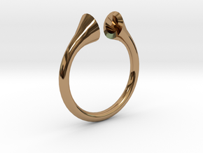 Gramaphonic Sharp Ring, US size 8, d=18 mm in Polished Brass: 8 / 56.75