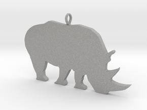 Rhino Silhouette Pendant in Aluminum