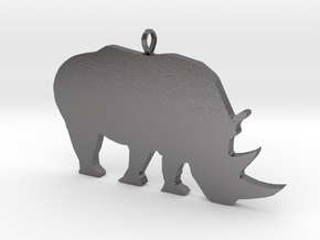 Rhino Silhouette Pendant in Polished Nickel Steel