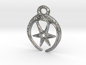 Roman Moon & Star Pendant (precious metal version) in Raw Silver