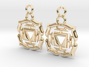 Chakra Muladhara Root Earrings in 14k Gold Plated Brass