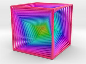 0299 Cube Line Design (full color, 5.5 cm) #003 in Glossy Full Color Sandstone