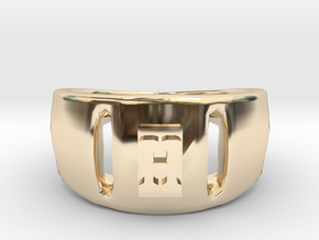 H Ring in 14K Yellow Gold