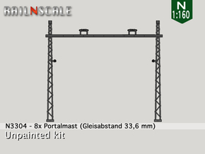 8x Portalmast (Oberleitung Epoche I - N 1:160) in Frosted Ultra Detail