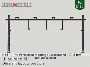 4x Portalmast 4-spurig (N 1:160) in Smooth Fine Detail Plastic