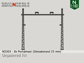 8x Portalmast (Oberleitung Epoche I - N 1:160) in Smooth Fine Detail Plastic