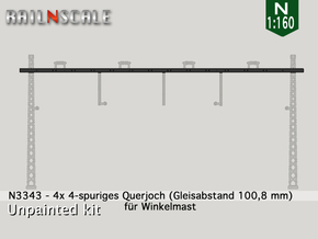 4x Querjoch 4-spurig (N 1:160) in Smooth Fine Detail Plastic