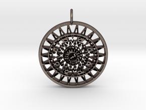 Ornamental keychain/pendant #3 in Polished Bronzed Silver Steel