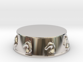 Chess Knight Base - 1 inch in Rhodium Plated Brass