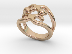 Two Bubbles Ring 18 - Italian Size 18 in 14k Rose Gold Plated Brass