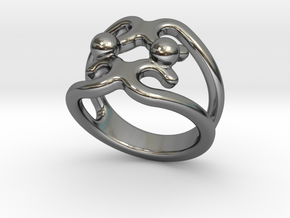 Two Bubbles Ring 22 - Italian Size 22 in Fine Detail Polished Silver