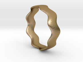 WIDE WAVE Ring in Polished Gold Steel