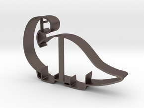 Brontosaurus Cookie Cutter in Polished Bronzed Silver Steel