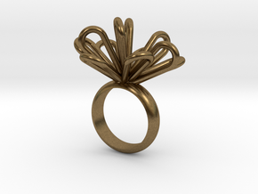 Loopy petals ring in Natural Bronze