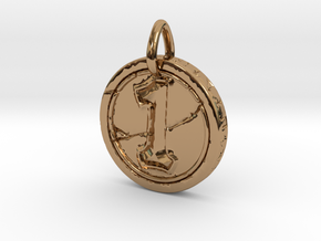 Hearth Stone Coin Pendant in Polished Brass