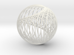 Cardioid Sphere 1 in White Natural Versatile Plastic