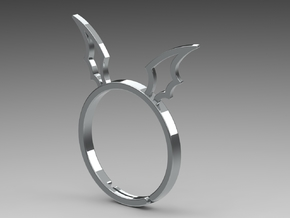 Devil's Wing Ring in Fine Detail Polished Silver