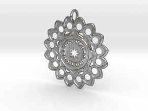 Flower Mandala No.1 in Raw Silver