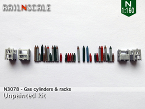Gas cylinders and racks (N 1:160) in Smooth Fine Detail Plastic