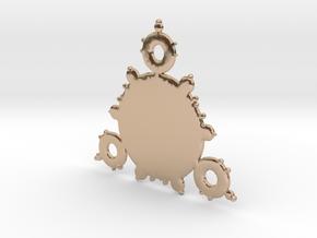 Mandelbrot 3 Leaf In Pendant in 14k Rose Gold Plated Brass