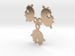 Mandelbrot 3 Leaf Out Pendant in 14k Rose Gold Plated Brass