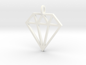 Pendant 'Diamond' in White Processed Versatile Plastic