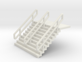 N Scale Stairs H12.5mm + 6mm Platform in White Natural Versatile Plastic
