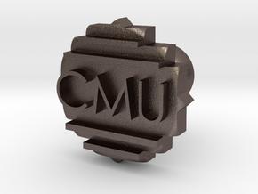 CMU Cufflink in Polished Bronzed Silver Steel