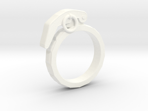The Gringade - Grenade Ring (Size 8.5) in White Processed Versatile Plastic