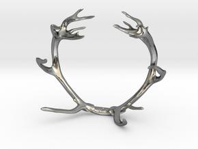 Red Deer Antler Bracelet 80mm in Polished Silver