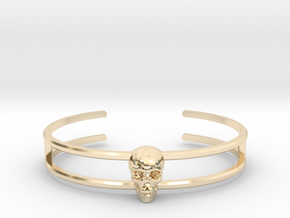 Double Stranded Single Skull Cuff in 14k Gold Plated Brass: Small