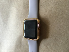 38mm Apple Watch Crown With Apple Approval 2 Thin  in 18k Gold Plated Brass
